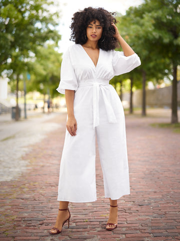 Alise Wide Leg Jumpsuit - Gabrielle Union x FTF in Optic White