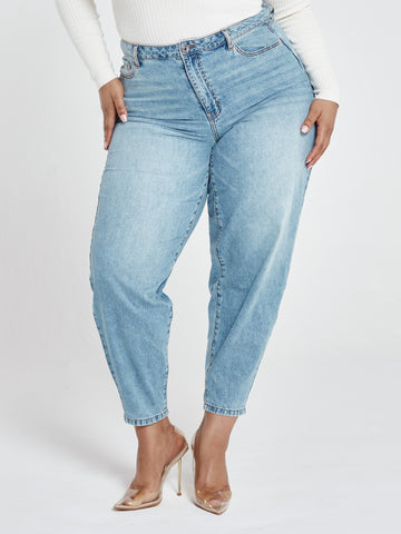 High Rise Light Wash Curved Jeans in Medium Blue Wash