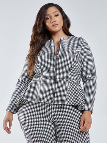 Sasha Houndstooth Peplum Blazer in Black