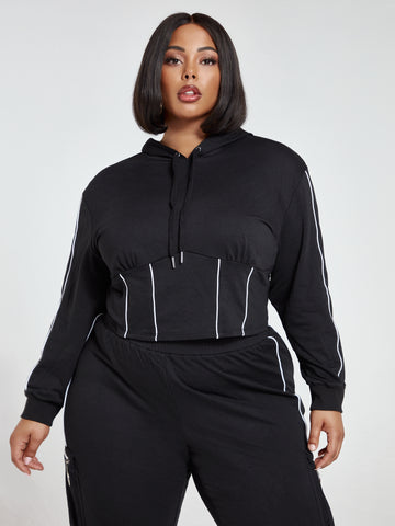 Dani Active Hoodie with Piping Detail in Black