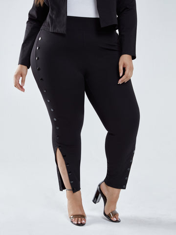 Charli Side Button Ponte Knit Pants in Black