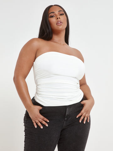 Lala Side Ruched Tube Top in White