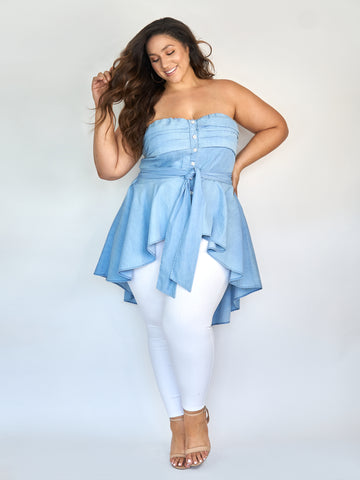 Katrina Off The Shoulder Chambray Hi-Lo Top in Light Blue