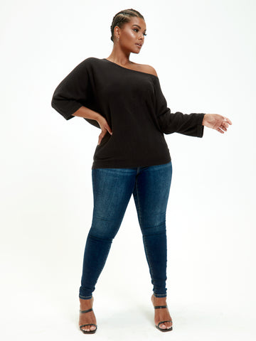 Hannah Easy Dolman Sweater in Black