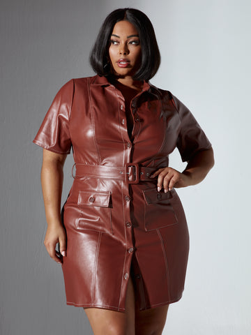 Adina Button Front Faux Leather Dress in Brown