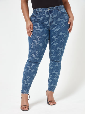 Mid Rise Jacquard Camo Skinny Jeans in Dark Blue Wash