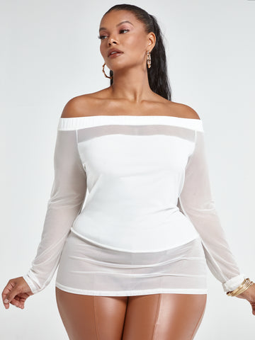 Donna Black Mesh Off the Shoulder Top in Off White