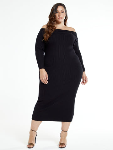 Keisha Off The Shoulder Sweater Maxi Dress in Black