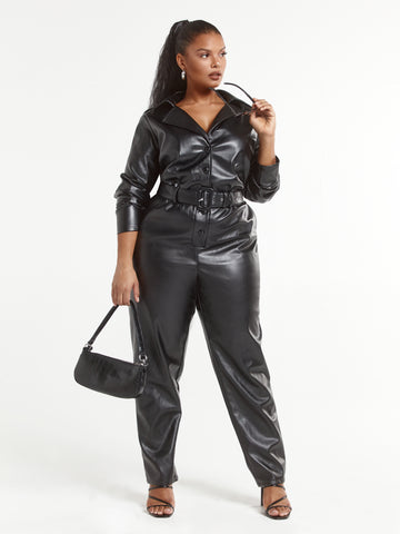 Geena Faux Leather Jumpsuit in Black