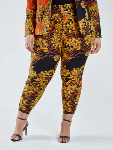 The City Zebra Scroll Print Pull-On Pants in Red