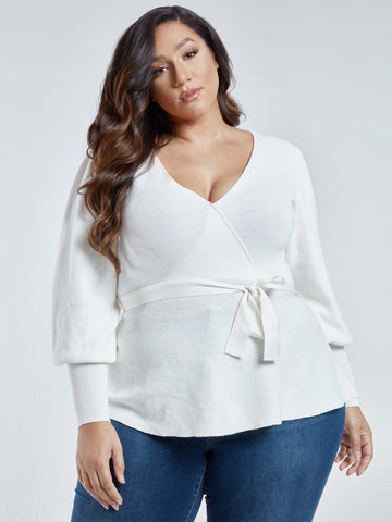 Lily Lantern Sleeve Peplum Sweater in Ivory