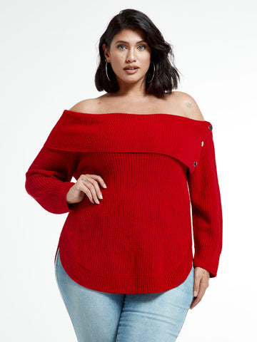 Amelia Split Collar Sweater With Snap Detail in Coco Red