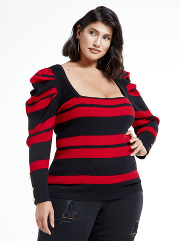 Kara Puff Sleeve Striped Square Neck Top in Red