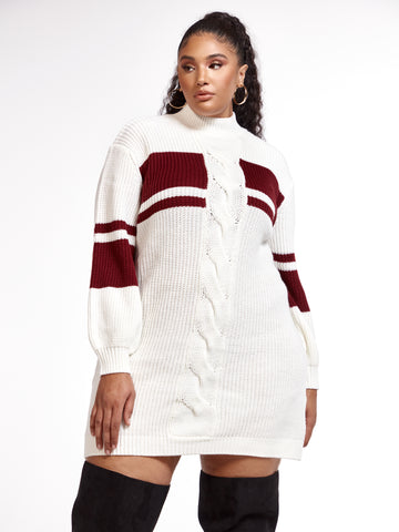 Rosie Cable-Knit Sweater Dress in Dark Red