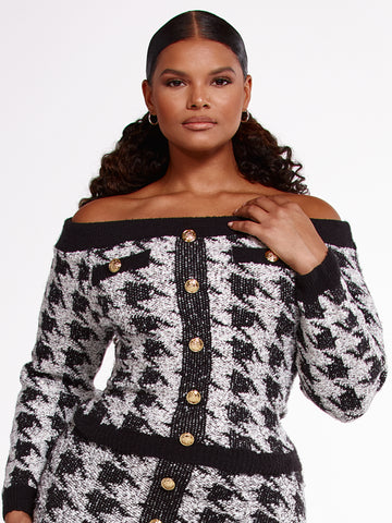 Melody Houndstooth Off The Shoulder Sweater in Black