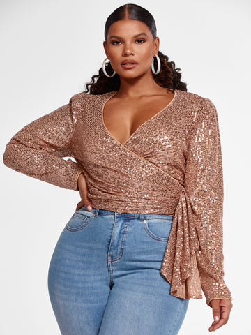 Nika Faux Wrap Cropped Sequin Blouse in Gold