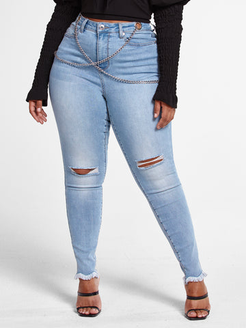 Light Wash High Rise Skinny Jeans With Chain Detail in Medium Blue Wash