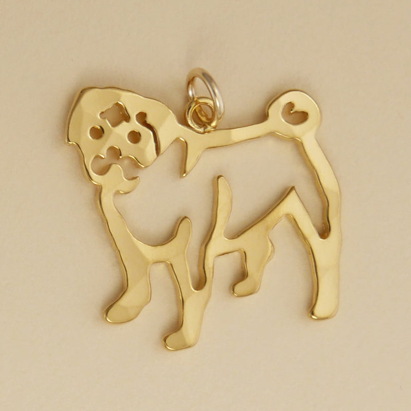 Hand hammered, US made gold vermeil pug charm.
