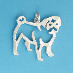 Hand hammered, US made sterling silver pug charm.
