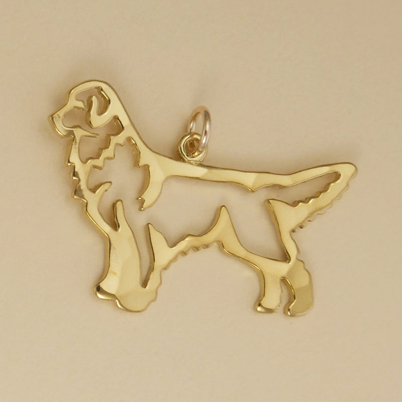 Hand hammered, US made gold vermeil stacking golden retriever pendant.