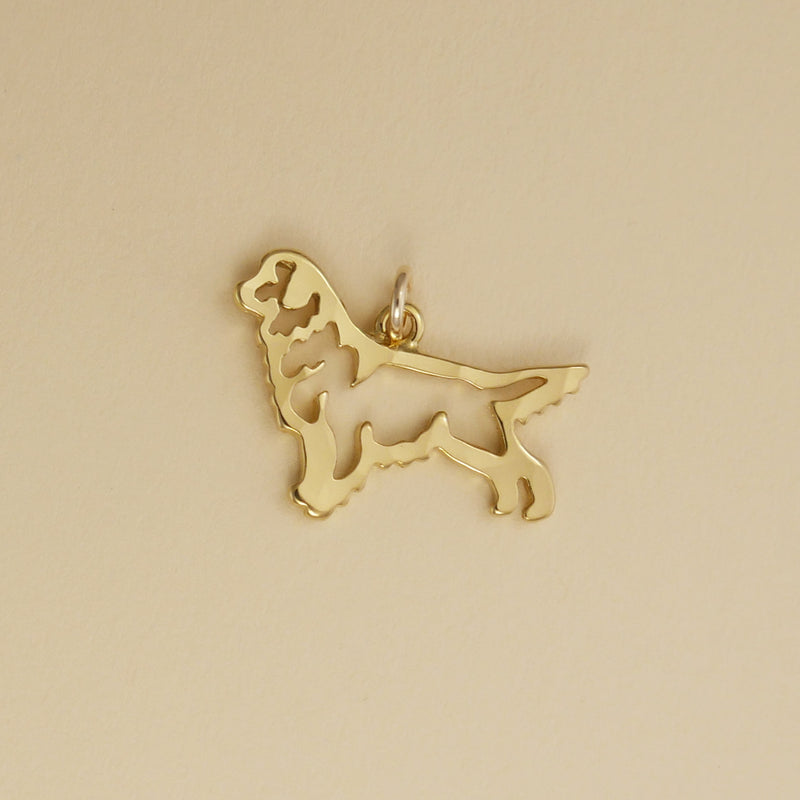 Hand hammered, US made gold vermeil stacking golden retriever charm.