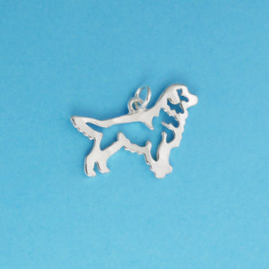 Hand hammered, US made sterling silver stacking golden retriever pendant.