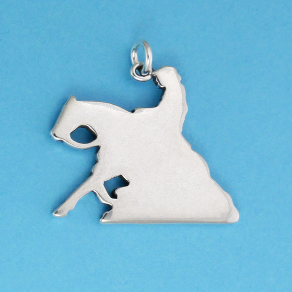 US made sterling silver reining horse pendant.