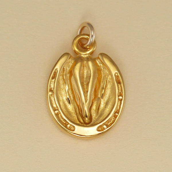 US made gold vermeil shod hoof charm.