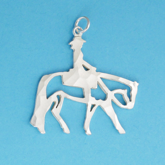 US made sterling silver western pleasure horse pendant.