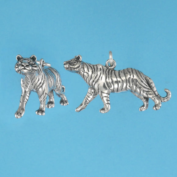 US made, sterling silver tiger charm.