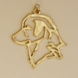 Hand hammered, US made gold vermeil nova scotia duck tolling retriever head pendant.