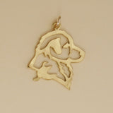 Hand hammered, US made gold vermeil nova scotia duck tolling retriever head charm.