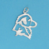 Hand hammered, US made sterling silver nova scotia duck tolling retriever head charm.