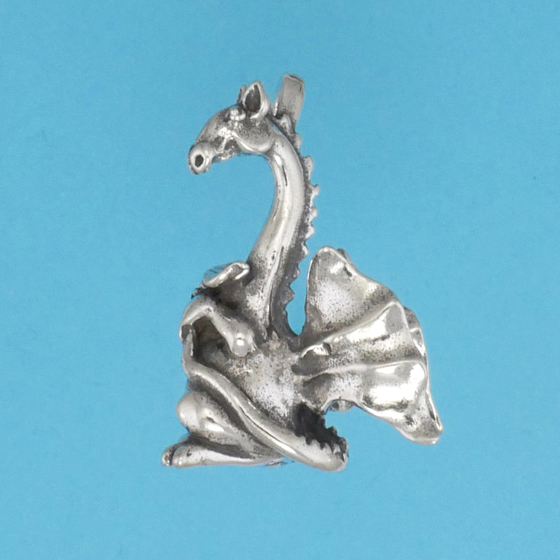 Sterling Silver Reticent Dragon Pendant - Charmworks