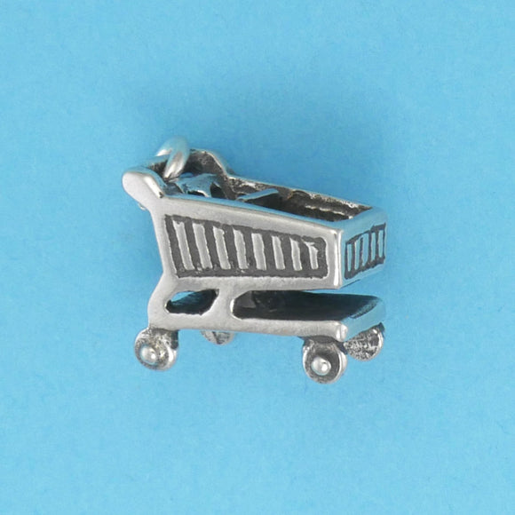 Sterling Silver Shopping Cart Charm - Charmworks