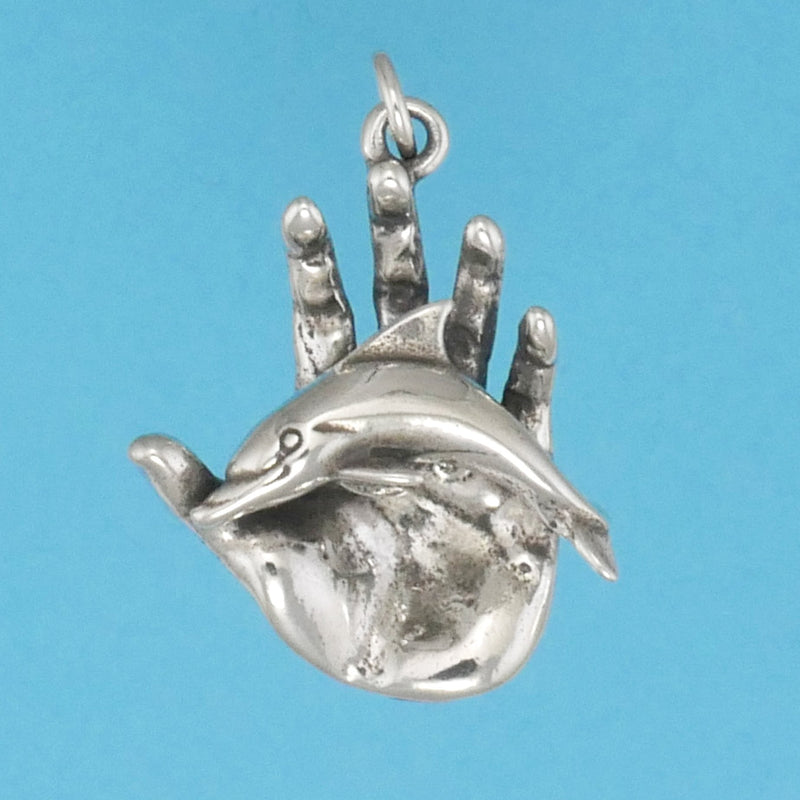 Hand Holding Dolphin Pendant - Charmworks