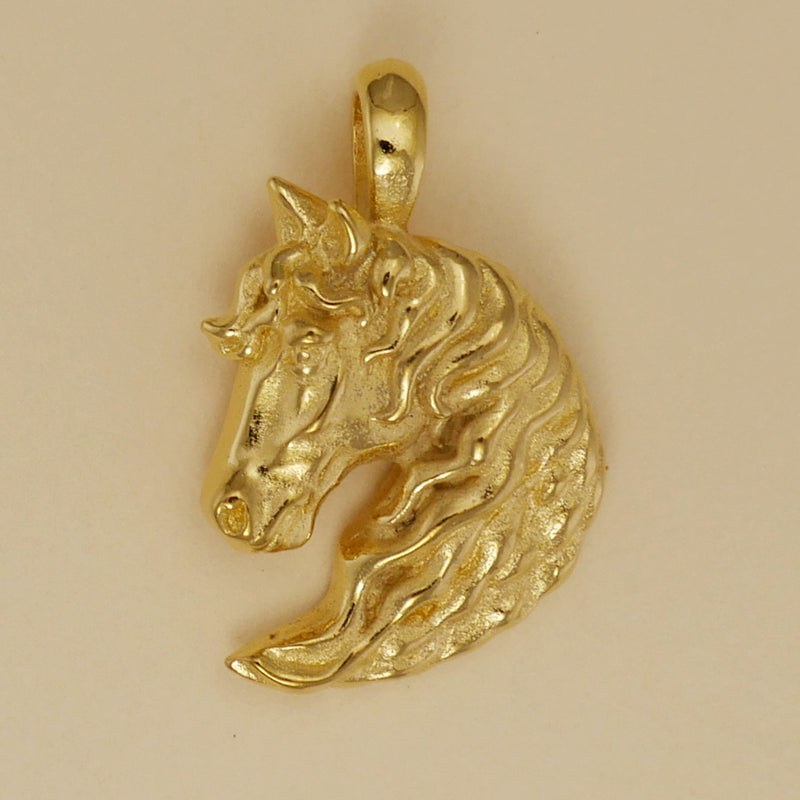 Horse Head Flowing Mane Pendant - Charmworks
