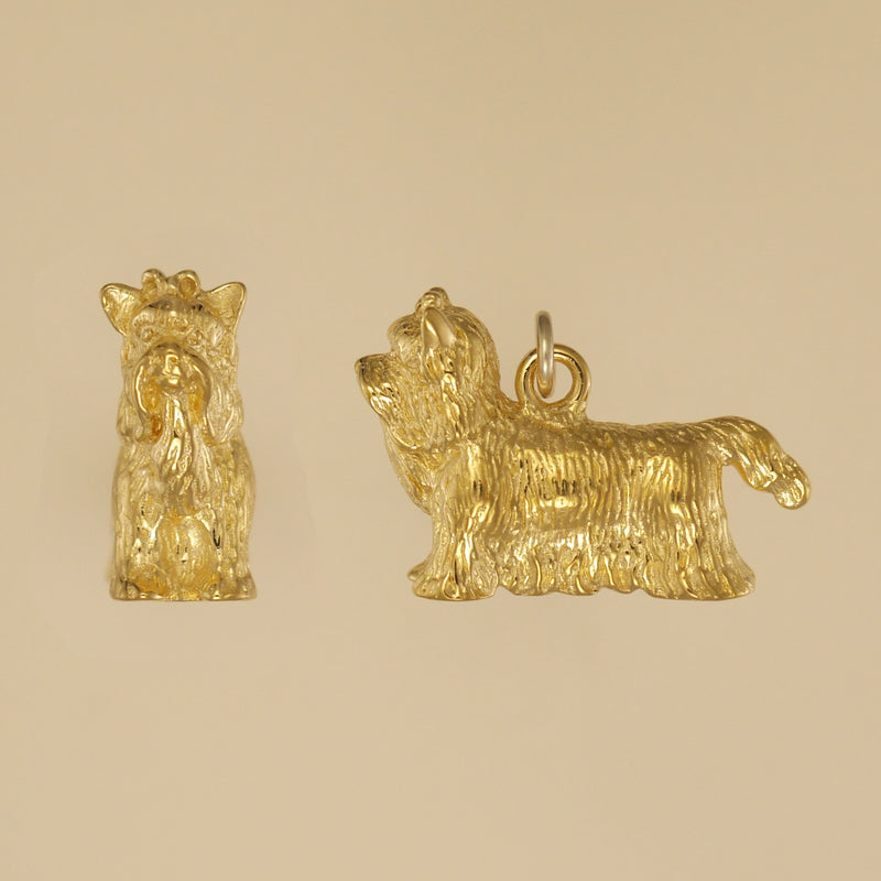 US made gold vermeil Yorkshire Terrier charm.