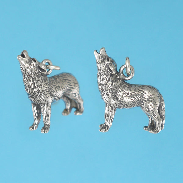 US made sterling silver howling wolf charm.