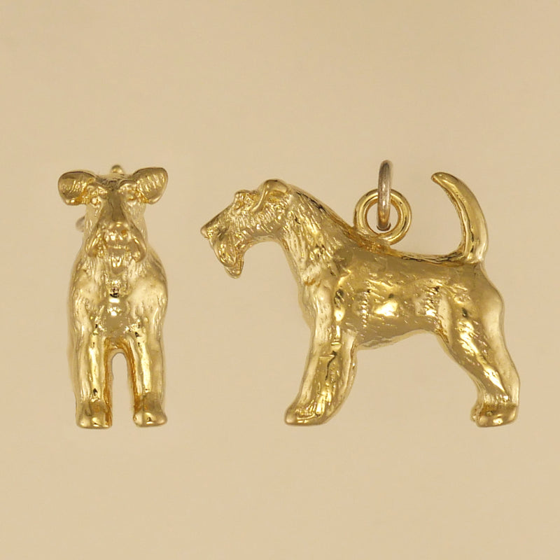US made gold vermeil wire fox terrier charm.