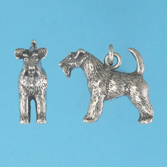 US made sterling silver wire fox terrier charm.