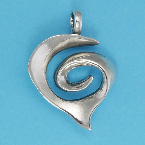 Sterling Silver Spiral Heart Pendant - Charmworks