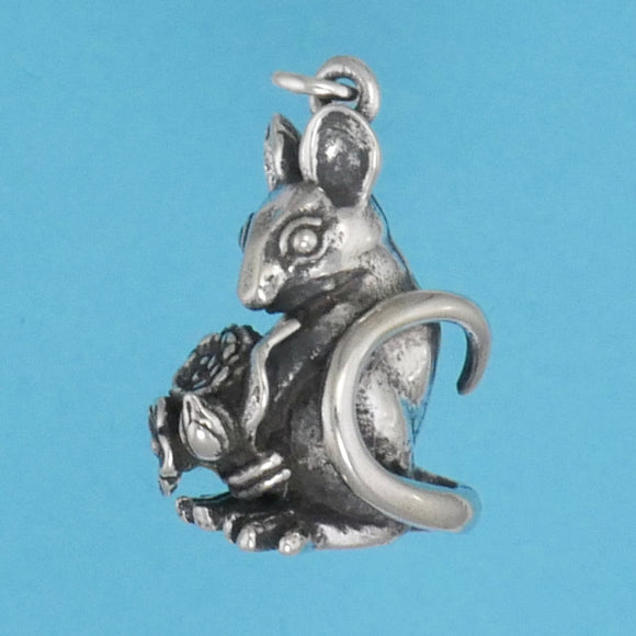 Sterling Silver Mouse With Flowers Charm - Charmworks