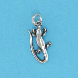 US made sterling silver skink charm.