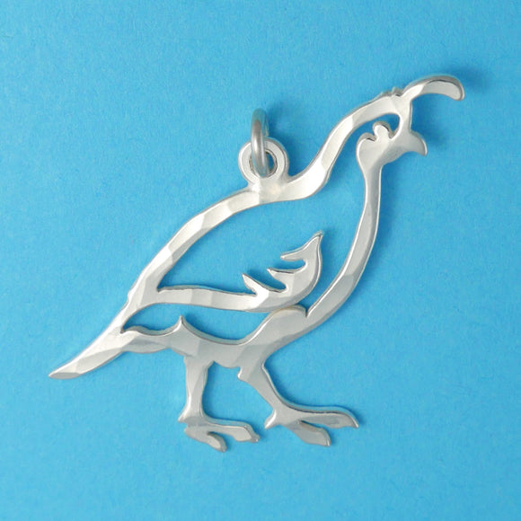 Sterling Silver Quail Pendant - Charmworks