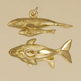 Gold Vermeil Right Whale With Calf Charm - Charmworks