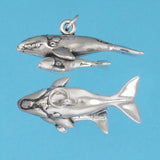 Sterling Silver Right Whale With Calf Charm - Charmworks