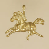 US made gold vermeil weather vane horse pendant.