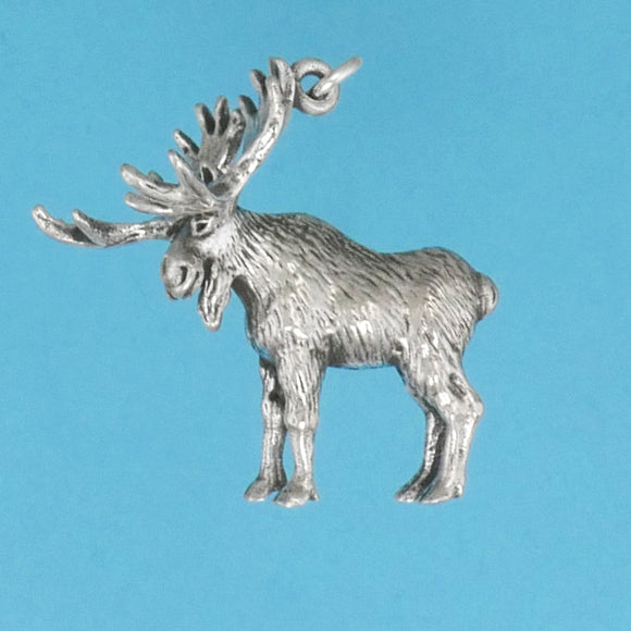 Sterling Silver Moose Pendant - Charmworks