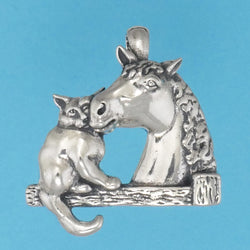 Cat With Horse Pendant - Charmworks